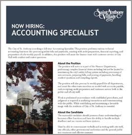 accounting specialist job announcement
