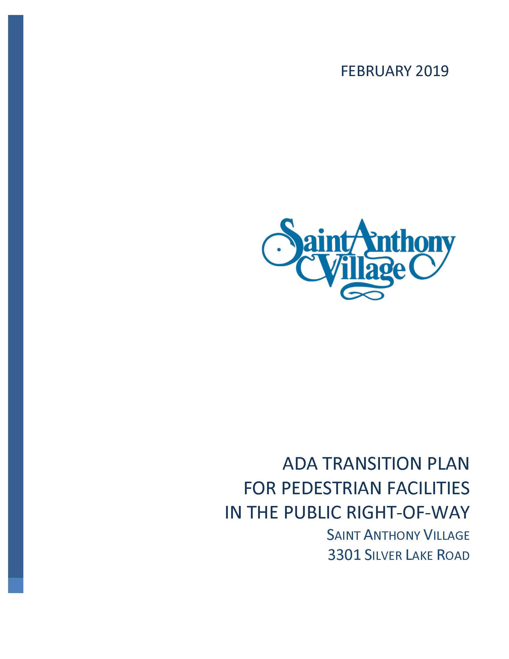Cover of St Anthony ADA Transition Plan Feb 2019-Final